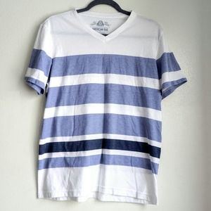 American rag white and blue stripe t shirt